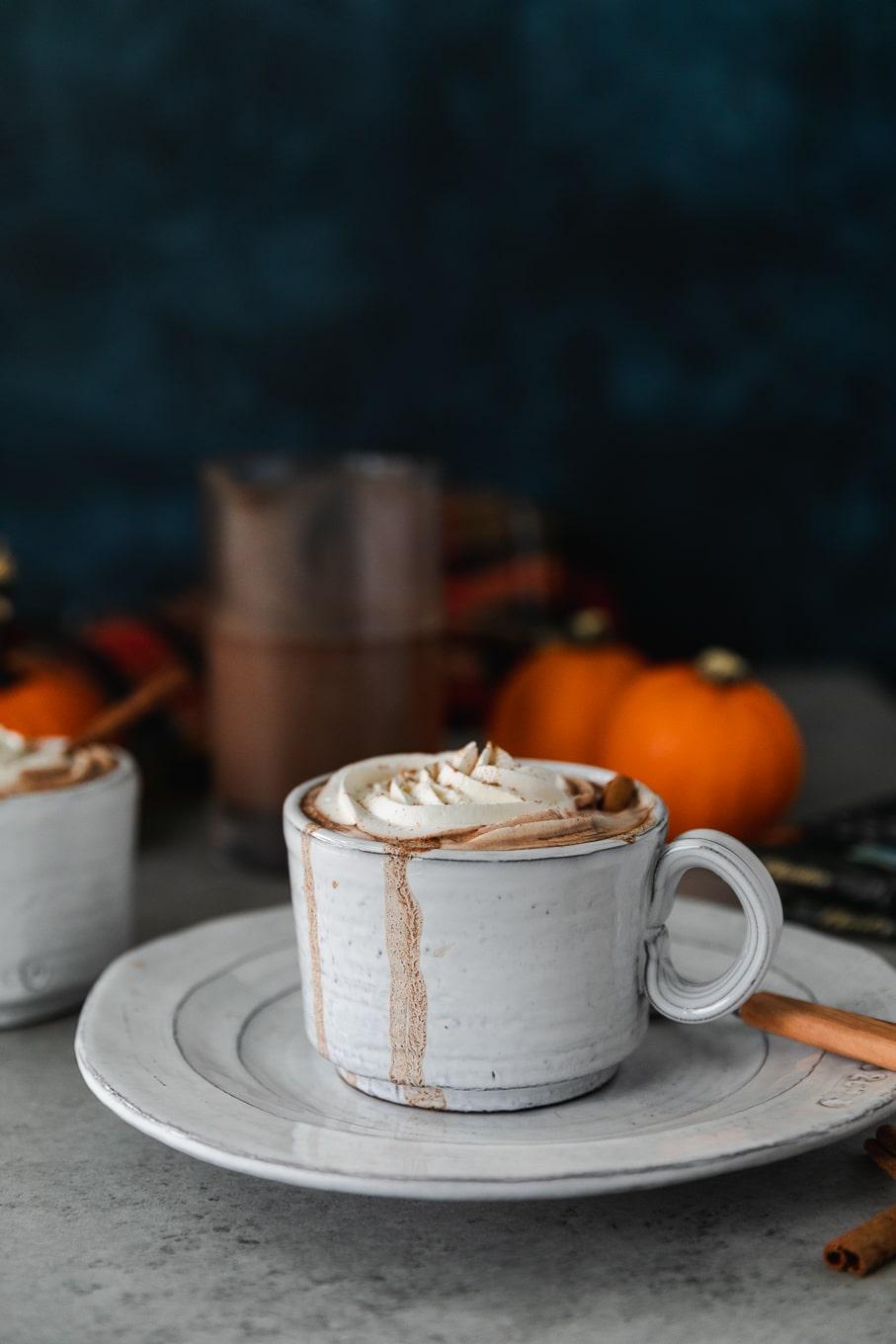 Forward facing shot of a white mug on a white plate filled with hot chocolate, topped with whipped cream and a cinnamon stick, with mini pumpkins in the background and a dark blue background