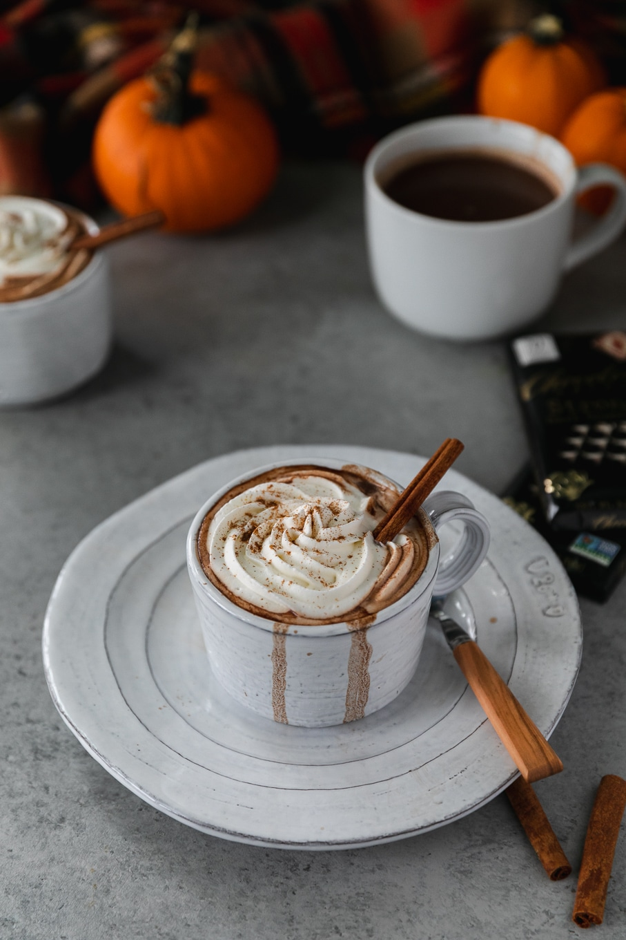 Shot of a white mug on a white plate filled with hot chocolate, topped with whipped cream and a cinnamon stick, with mini pumpkins in the background