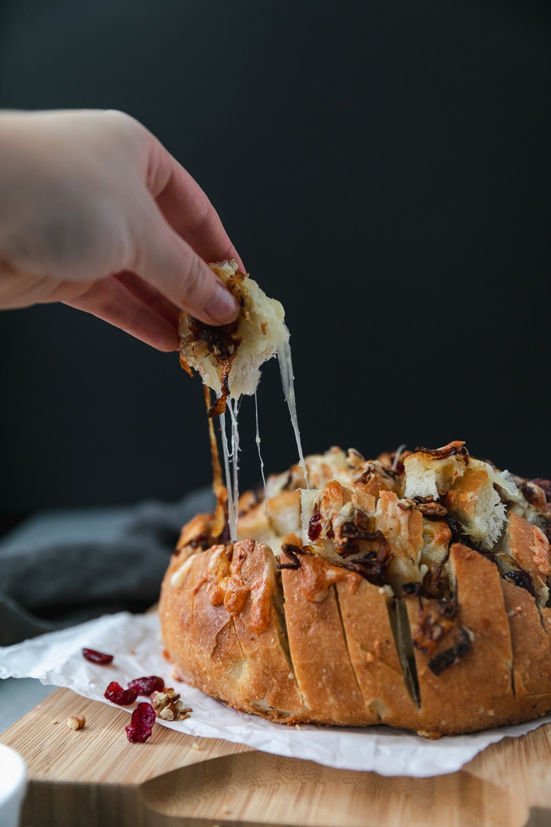 Forward facing shot of a loaf of bread stuffed with melted cheese, caramelized onions, cranberries, and pecans with a hand pulling a cheesy piece of bread off of it against a black background