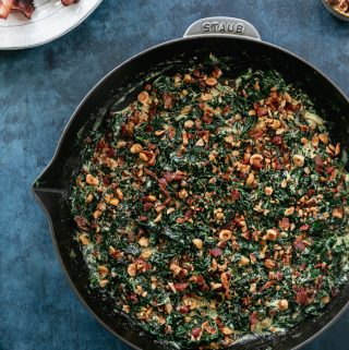 Creamed Kale with Hazelnut Bacon Crunch