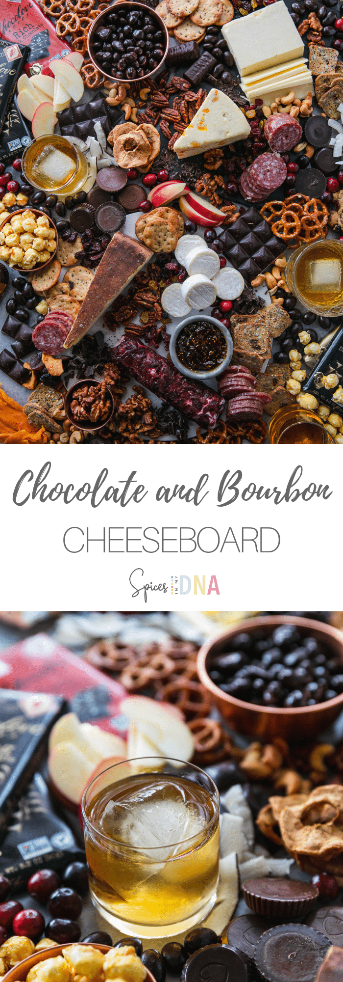 This Chocolate and Bourbon Cheeseboard is such a fun spread to serve to guests during the holidays! It's filled with your favorite cheeses, dark chocolate, crackers, fruit, preserves, candy, nuts, and glasses of bourbon! It's the perfect dessert or appetizer board to entertain with this holiday season - such a crowd pleaser! #cheeseboard #chocolate #dessert #holidayentertaining