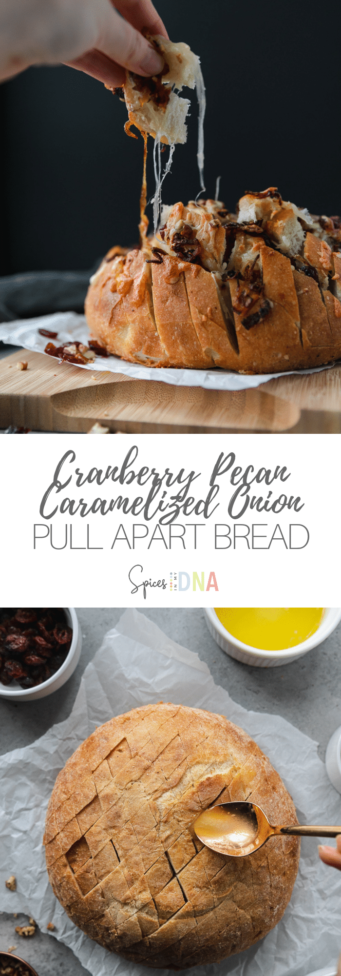 This Cranberry Pecan Caramelized Onion Cheesy Pull Apart Bread is the easiest, most crowd-pleasing, festive holiday appetizer! You just use a store-bought loaf of bread, make diagonal cuts in it, and then stuff it with a little melted butter, caramelized onions, dried cranberries, chopped pecans, white cheddar, and fontina cheese! It's unbelievably delicious. #appetizer #pullapartbread #holidayrecipe #cheesy