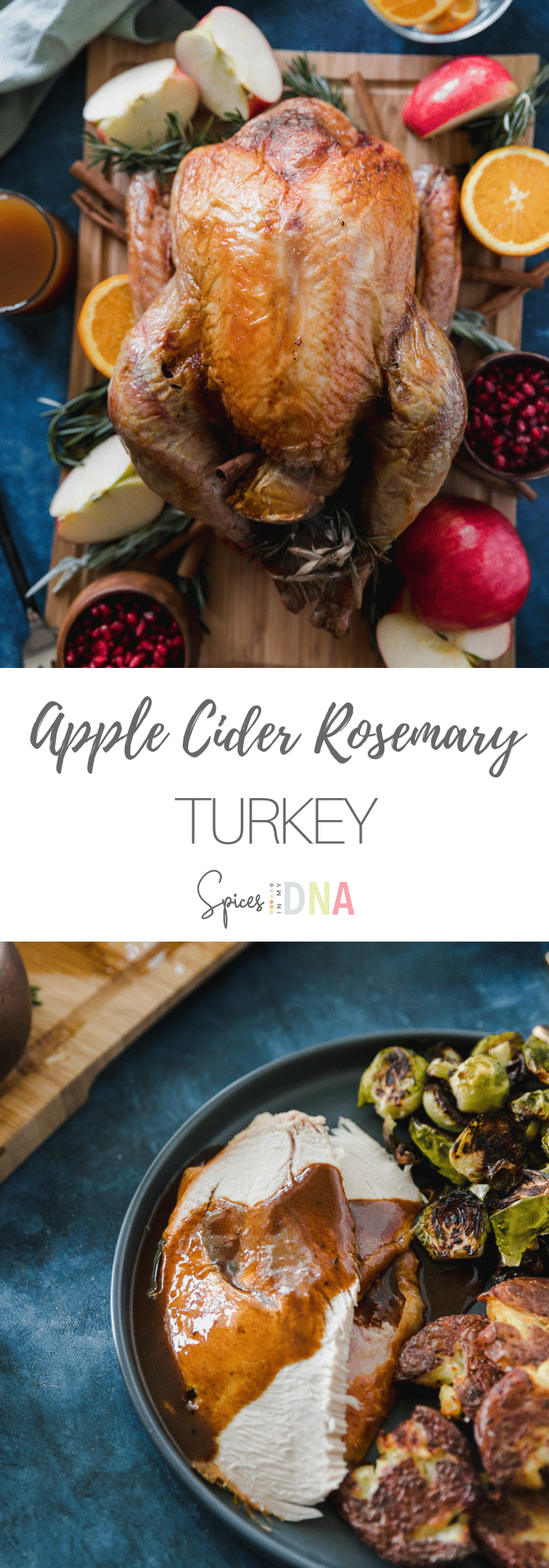 This Apple Cider Rosemary Turkey is filled with oranges, honeycrisp apples, rosemary, fresh sage, and a cinnamon stick, and it's cooked with apple cider in the roasting pan for extra fall flavor! The turkey is finished with an orange rosemary gravy, and it's a perfect addition to your Thanksgiving or holiday table! #turkey #Thanksgiving #holidayrecipe