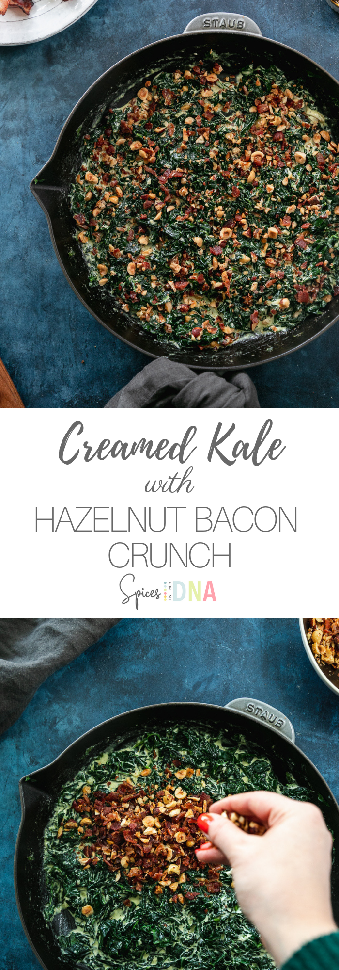 This Creamed Kale with Hazelnut Bacon Crunch is unbelievably delicious and addicting, and it's the perfect Thanksgiving or easy holiday side dish! It's filled with lots of texture from the chopped hazelnuts and crumbled bacon, and it's creaminess comes from heavy cream and a touch of cream cheese for a little extra something! #kale #bacon #thanksgiving #sidedish