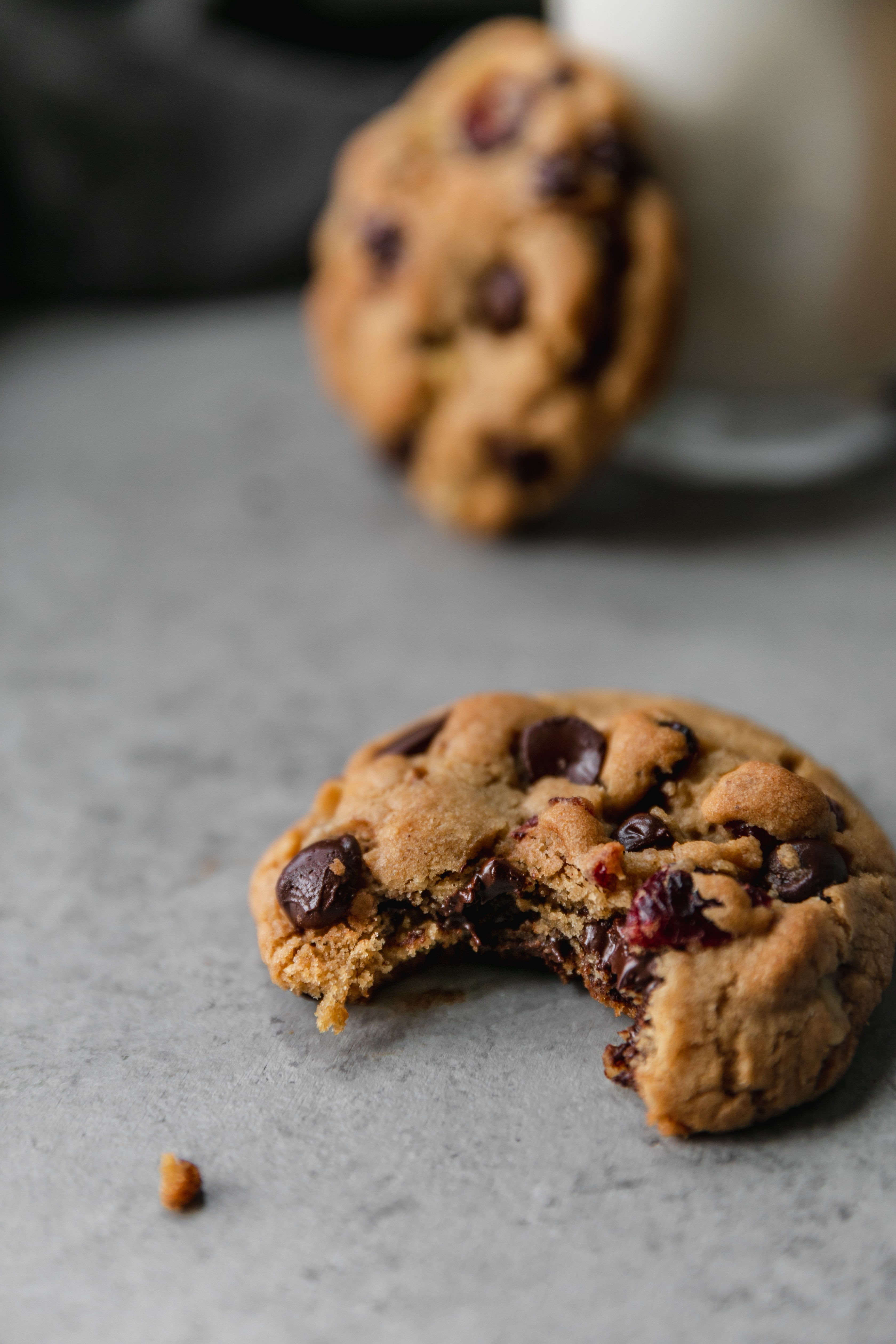 Close up shot of a dark chocolate chip cranberry walnut cookie with a bite taken out of it