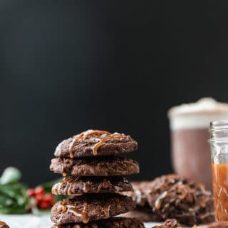 Chocolate Mocha Pecan Salted Caramel Cookies