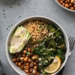 Crispy Quinoa Chickpea Bowls with Roasted Broccoli and Meyer Lemon Tahini Sauce