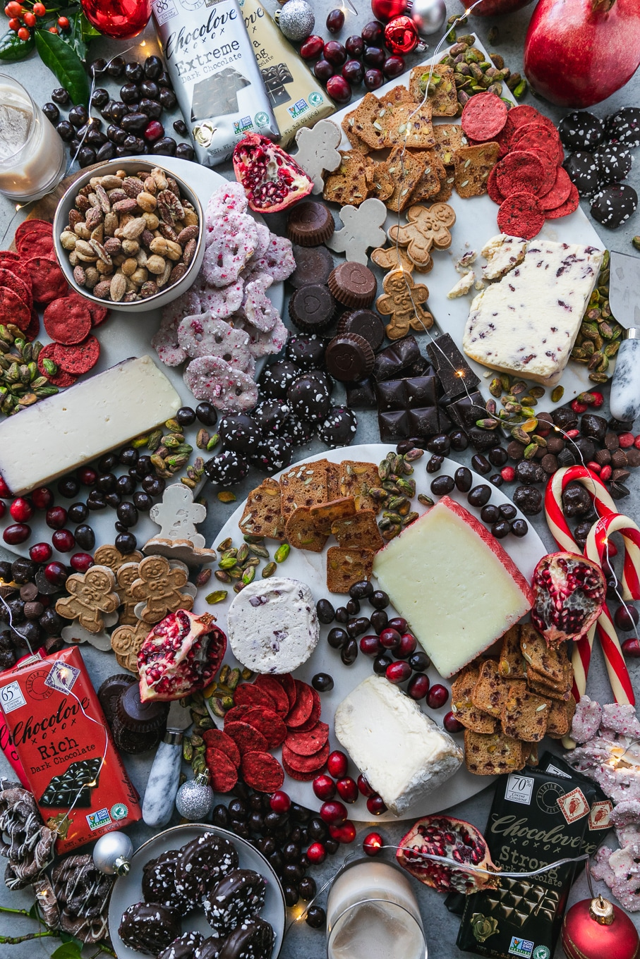 Christmas Cheese Board.Holiday Dessert Cheeseboard