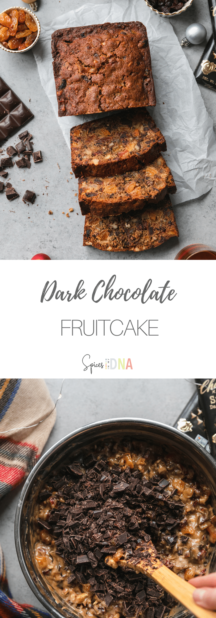 This Dark Chocolate Fruitcake is not your average fruitcake! It's made with dried cranberries, dates, apricots, raisins, and pineapple, brandy, a blend of holiday spices, vanilla, nuts, and chopped dark chocolate. It's an incredibly delicious, modern take on the classic fruitcake! #fruitcake #holidaybaking #christmas #darkchocolate