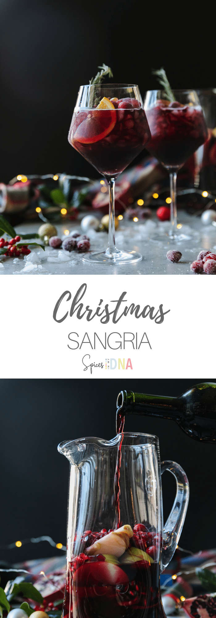 This Christmas Sangria is the most festive red sangria recipe for all of your holiday celebrations! It's the best red sangria ever, and SO easy to make. It's made with your favorite red wine, a touch of cinnamon simple syrup, pomegranate juice, cranberry juice, a little orange liqueur, pomegranate arils, sliced oranges, honeycrisp apples, and fresh cranberries! #sangria #cocktail #christmas #holidayrecipe