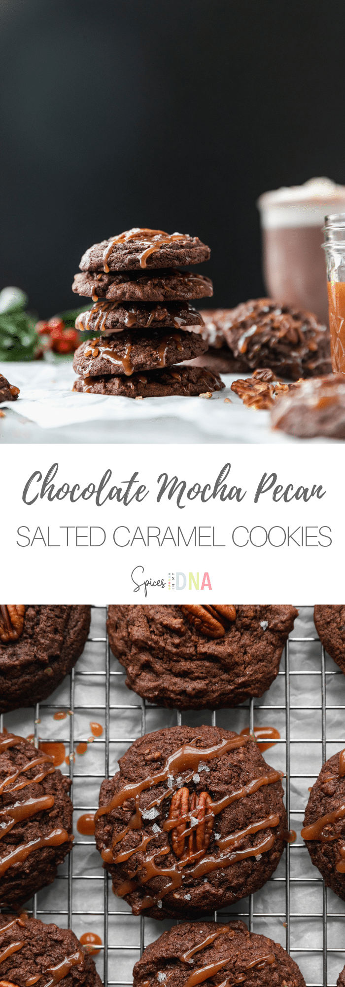 These Chocolate Mocha Pecan Salted Caramel Cookies are a chocolatey, sweet and salty cookie filled with rich chocolate flavor, chopped pecans, and espresso powder. They get drizzled with a simple homemade salted caramel sauce, and extra flaky sea salt for good measure! They're the perfect cookie to add to your baking list this holiday season! #cookie #holidaybaking #chocolatecookie #saltedcaramel #pecan #mocha