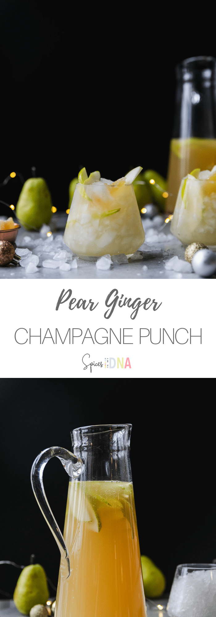 This Pear Ginger Champagne Punch is a super festive, 4 ingredient cocktail to make for New Years Eve! It's filled with champagne, pear juice, ginger brandy, and ginger beer! I love to add fresh pear slices and then garnish it with a piece of crystallized ginger! #cocktail #champagne #gingerbeer #newyears #punch #pear #ginger