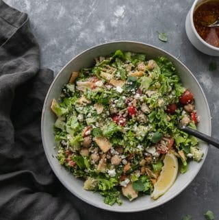 Chopped Greek Quinoa Salad with Pita Chip Croutons