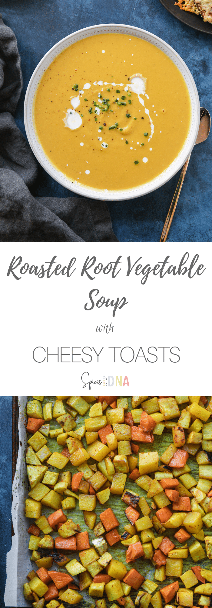 This Roasted Root Vegetable Soup with Cheesy Toasts is a comforting, simple meal to make when you're craving something cozy! It's filled with sweet potato, rutabaga, celery root, parsnips, a touch of honey for sweetness, and spices! The cheesy toasts are the most perfect accompaniment - I love using a seedy, grainy bread here! #roastedvegetables #rootvegetable #soup #toast #vegetarian #comfortfood