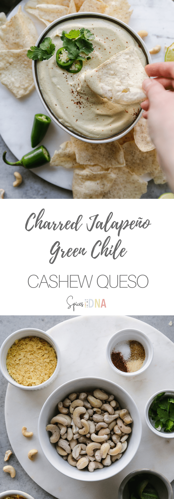 "This Charred Jalapeño Green Chile Cashew Queso is a vegan, dairy free version of your favorite cheesy dip! This one is made with charred jalapeño, diced green chiles, spices, and nutritional yeast for that ""cheesy"" flavor. It's incredibly creamy, and incredibly delicious! Perfect for snacking on with chips, or drizzled over salads and burrito bowls! #vegan #queso #plantbased #dairyfree #vegetarian"