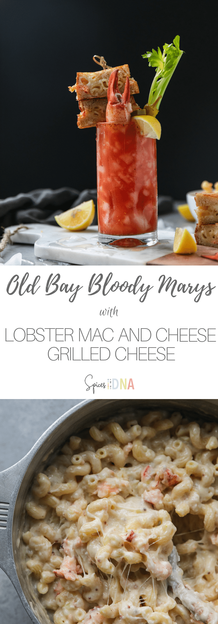 These Old Bay Bloody Marys with Lobster Mac and Cheese Grilled Cheese are such a fun cocktail to serve on game day or for your next brunch! The Bloody Marys are pretty classic, but with a little Old Bay twist! They're garnished with the most decadent grilled cheeses (there's lobster mac and cheese inside of them!), celery, lemon, and pickled veggies. So perfect to serve at a party! #bloodymary #oldbay #cocktail #brunch #gamedayrecipe #lobstermac #grilledcheese