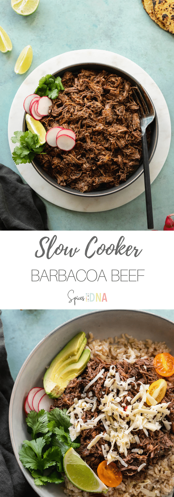 This Slow Cooker Barbacoa Beef is an insanely delicious take on the Mexican shredded beef you see in burrito bowls and tacos! It's unbelievably flavorful, easy to make, and it's super versatile! It's great for feeding a large crowd, or to make for meal prep to have on hand all week! #barbacoabeef #barbacoa #beef #slowcooker #crockpot #mexican
