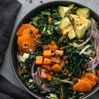 Shaved Brussels Kale Salad with Butternut Squash, Mandarins, and Candied Pistachios