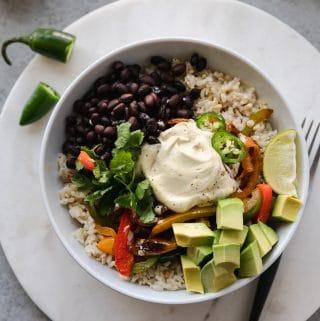 Veggie Fajita Burrito Bowls with Charred Jalapeño Cashew Queso
