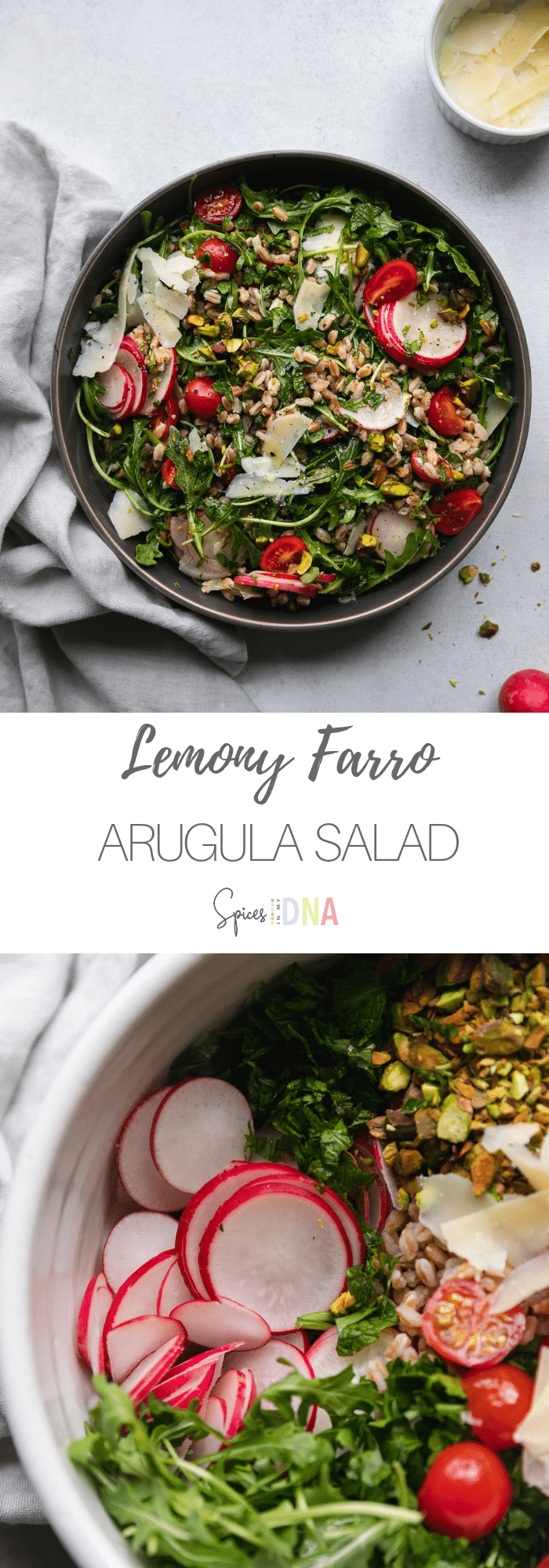 This Lemony Farro Arugula Salad is a simple, refreshing salad with so much freshness, flavor, and texture! It's filled with grape tomatoes, thinly sliced radishes, chopped pistachios, shaved parmesan, lots of chopped parsley, fresh mint, and a super easy and delicious lemon vinaigrette! #salad #farrosalad #vegetarian #plantbased #farro