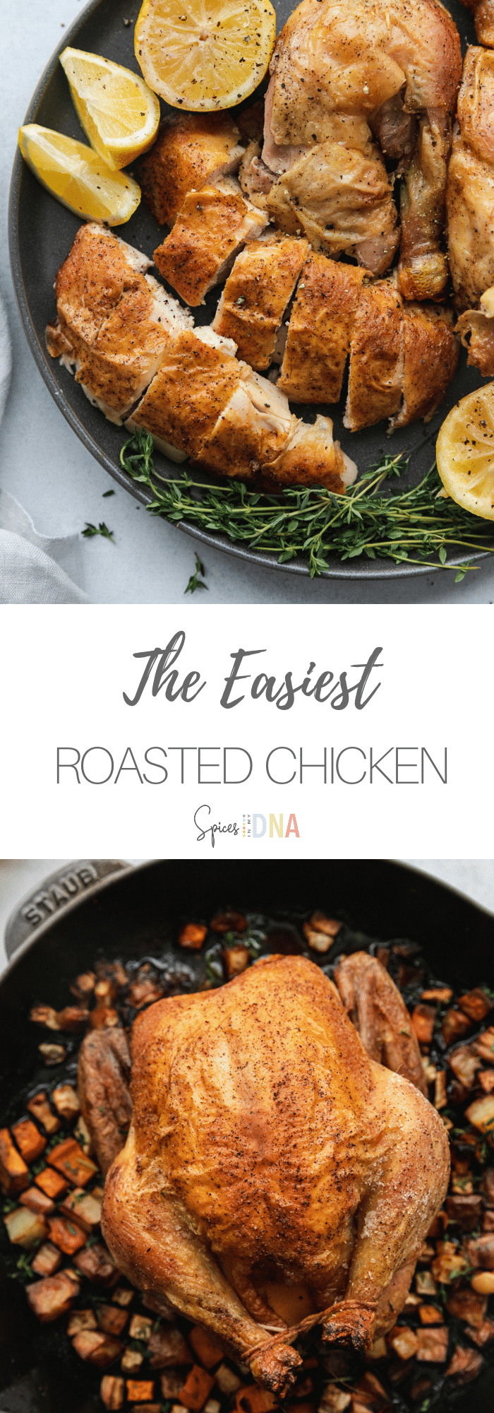 This Whole Roasted Chicken is the easiest, most flavorful method to roast a whole chicken. I rub it generously with salt and pepper, stuff it with lemons and thyme, and roast it over a bed of root vegetables for extra flavor. It couldn't be simpler or more foolproof, and it's so versatile! #wholeroastedchicken #roastedchicken #easy #chickenrecipe #easydinner #mealprep