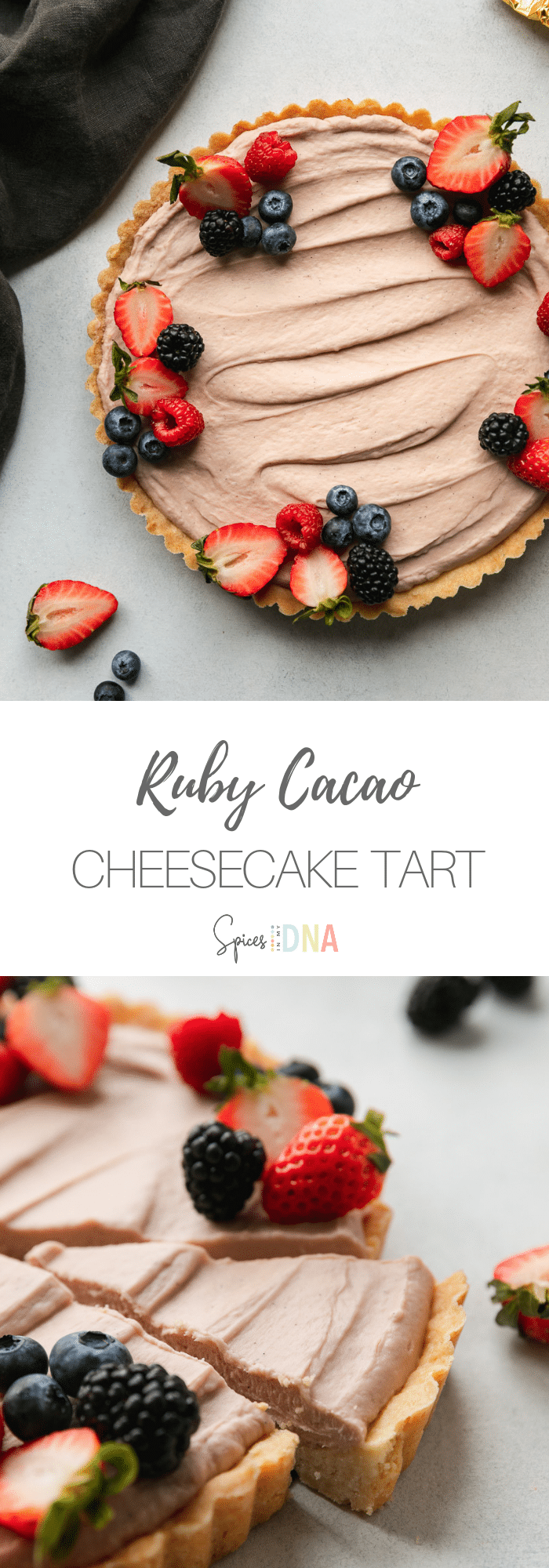 This Ruby Cacao Cheesecake Tart with Berries is a super delicious cheesecake tart hybrid - perfect for a Valentine's Day dessert! It's just the right amount of sweet, has a little bit of richness from the cream cheese, and a crust reminiscent of half sugar cookie and half pie crust! #cheesecake #tart #chocolate #valentinesdaydessert #dessert #whitechocolate