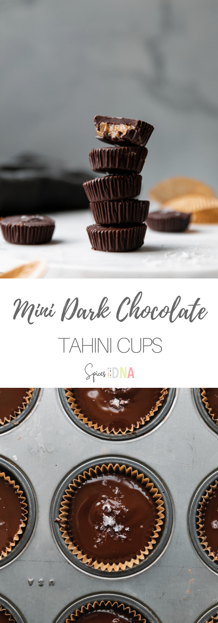 These Mini Dark Chocolate Tahini Cups are the best 6 ingredient treat to keep on hand for when that sweet craving strikes! They're made with dark chocolate, tahini, honey, a little bit of powdered sugar, vanilla extract, and salt, so they're on the healthier side! The combination of flavors is absolutely delicious, and they make for a great gift too! #darkchocolate #tahini #tahinicups #healthydessert #6ingredient