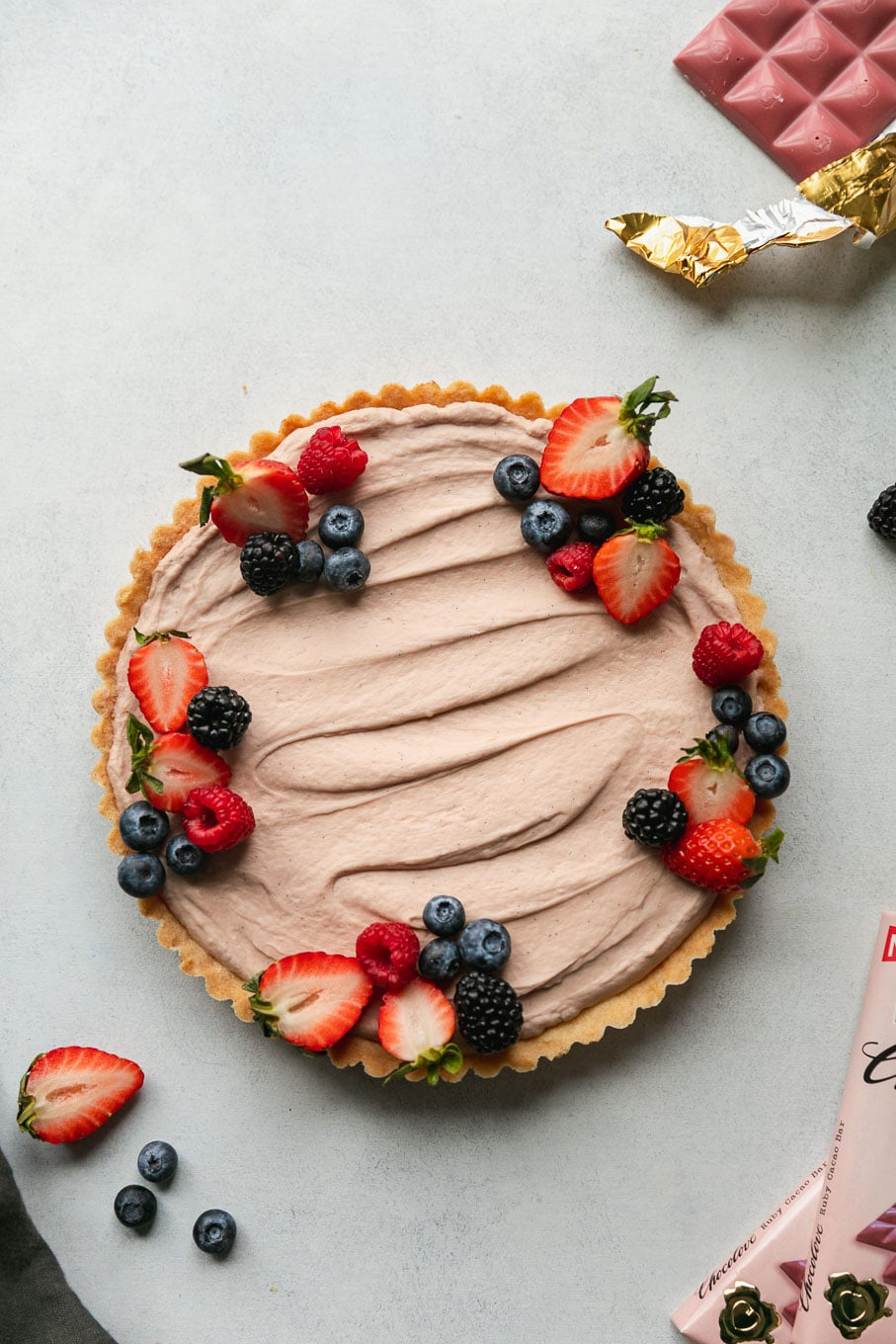 Overhead shot of a berry cheesecake tart