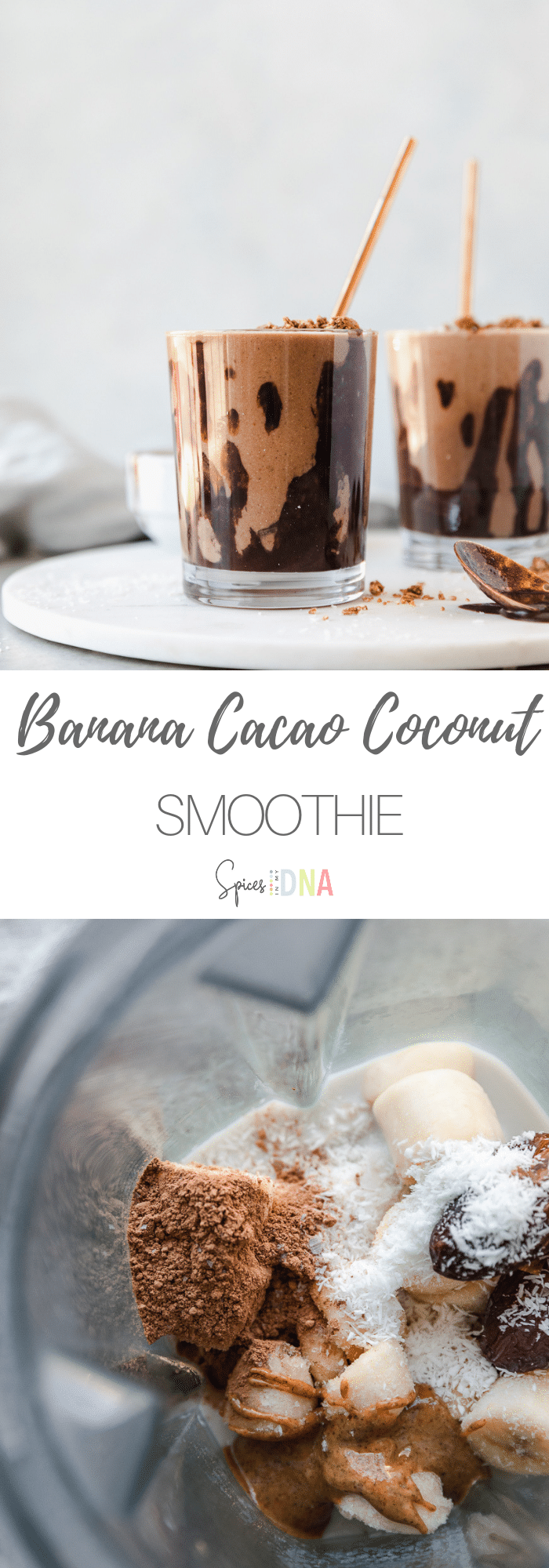This Banana Cacao Coconut Smoothie is as close as you can get to a healthy milkshake! It's dairy free, gluten free, paleo, vegan, and it tastes like such a treat! The inside of the glass gets drizzled with a raw chocolate sauce made with just a few ingredients, and the smoothie is made with frozen banana, shredded coconut, dates, cacao powder, almond butter, and almond milk! #vegan #dairyfree #smoothie #paleo