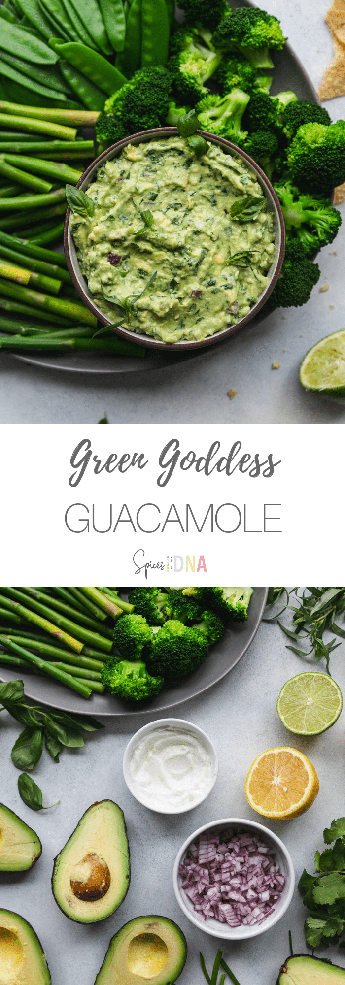 This Green Goddess Guacamole is perfect for spring! It's filled with lots of fresh herbs - cilantro, chives, tarragon, and basil! I love serving it with green vegetables, and chips of course. It's such a fun take on classic guac, and it's super festive for St. Patty's Day too! #guacamole #greengoddess #springrecipe #appetizer