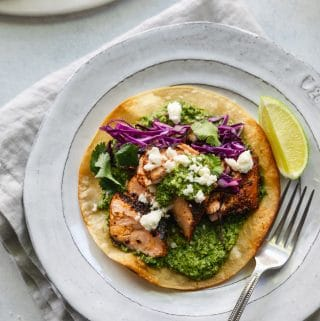 Blackened Salmon Tostadas with Cilantro Pepita Sauce