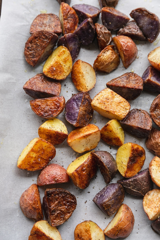Overhead close up shot of crispy roasted potatoes