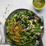 Blackberry Feta Crispy Quinoa Salad with Basil Vinaigrette