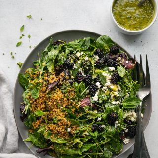 Blackberry Feta Crispy Quinoa Salad with Basil Vinaigrette
