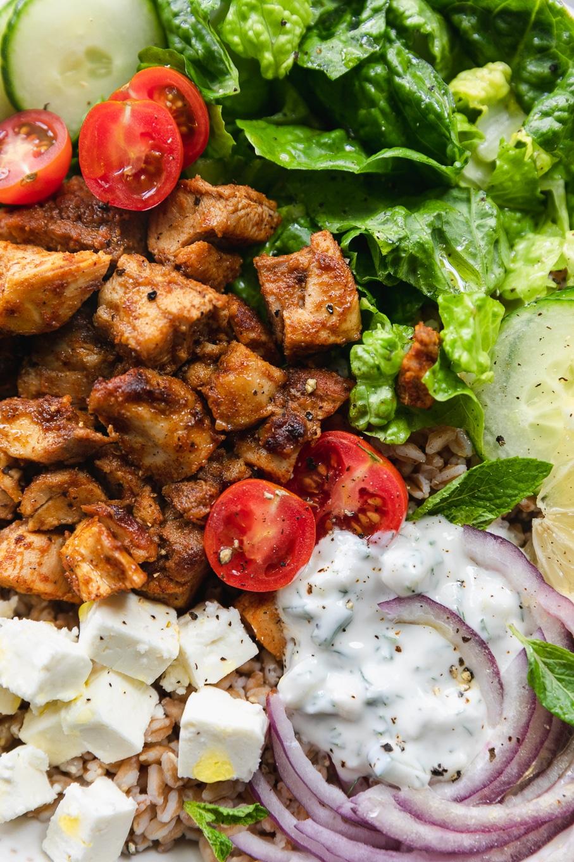 Super close up shot of a chicken shawarma bowl