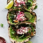 Marinated Mushroom Kale Tacos with Cilantro Avocado Sauce