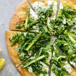 Burrata Pizza with Shaved Asparagus Arugula Salad