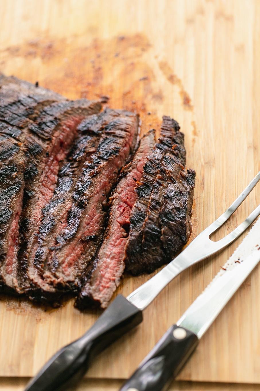 Close up shot of grilled sliced flank steak
