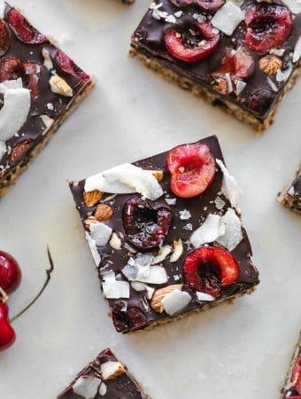 Overhead shot of Dark Chocolate Cherry Coconut Almond Oat Bars