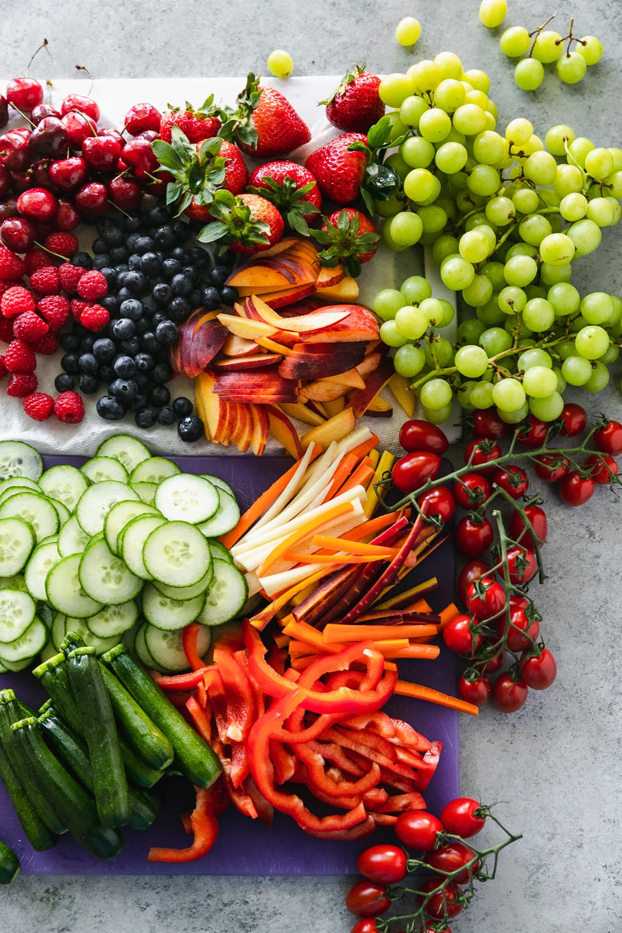 Overhead shot of colorful fruits and vegetables