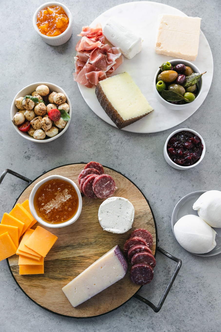 Overhead shot of cheeses and salami