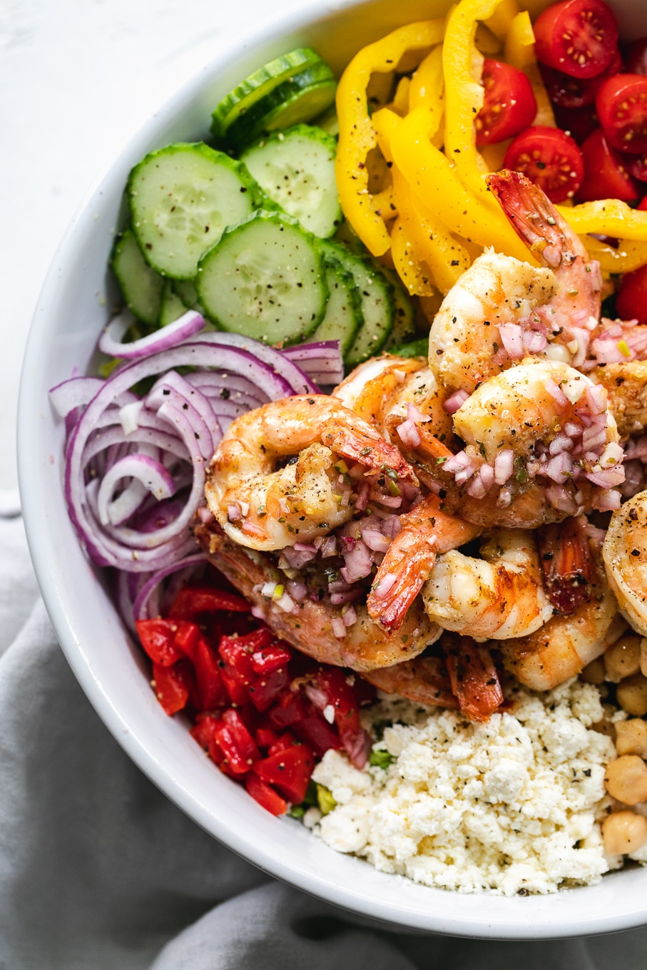 Mediterranean Chopped Salad With Lemon Garlic Shrimp