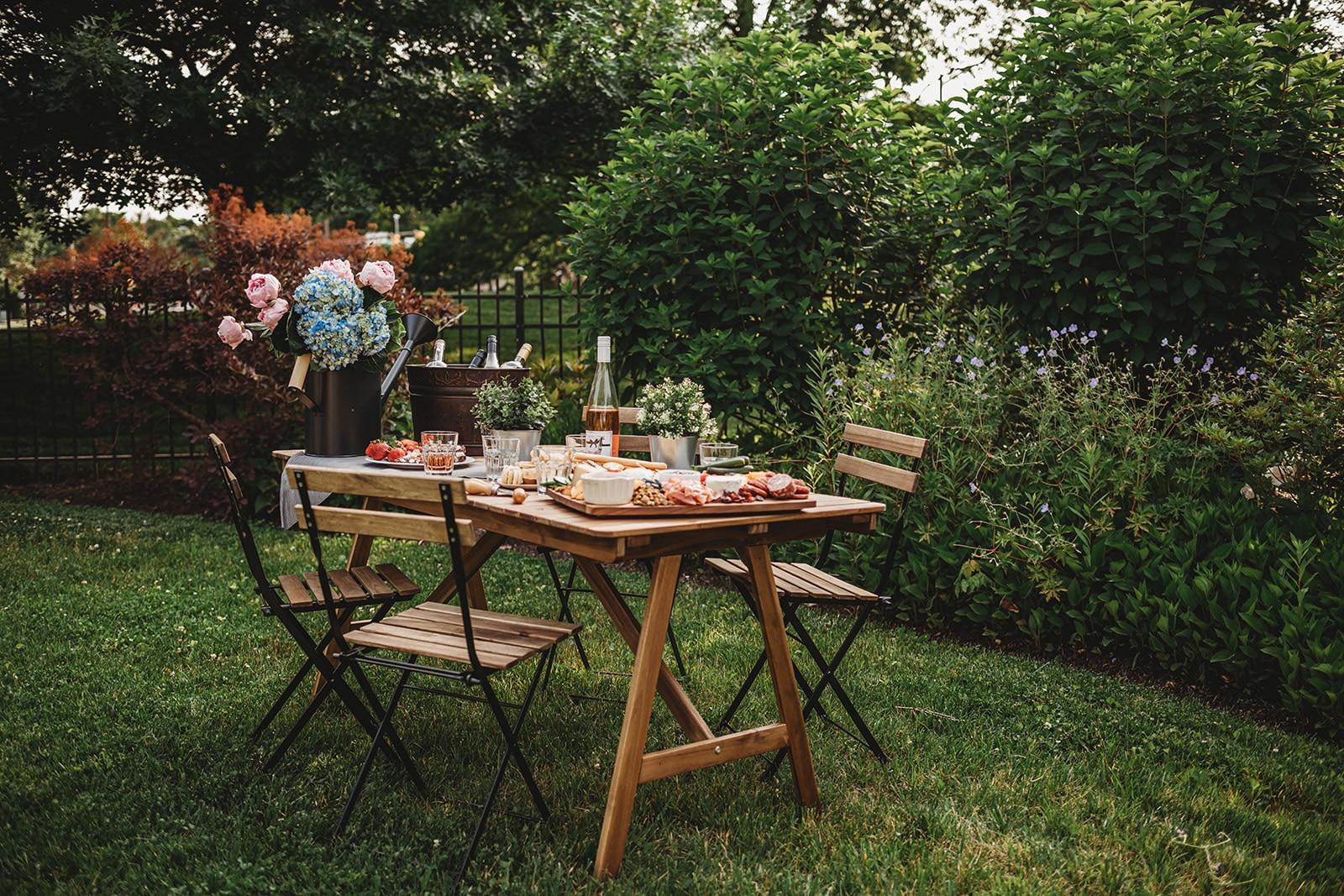 Shot of a tablescape in a garden
