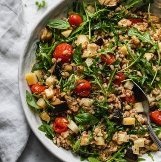 Arugula Farro Salad with Garlic Roasted Tomatoes, Eggplant, and Smoked Mozzarella