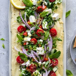 Greek Salad Hummus Board