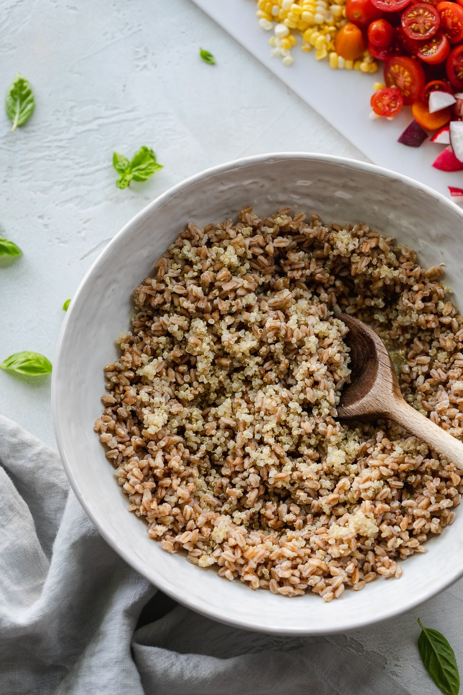 Overhead shot of a bowl of farro and quinoa