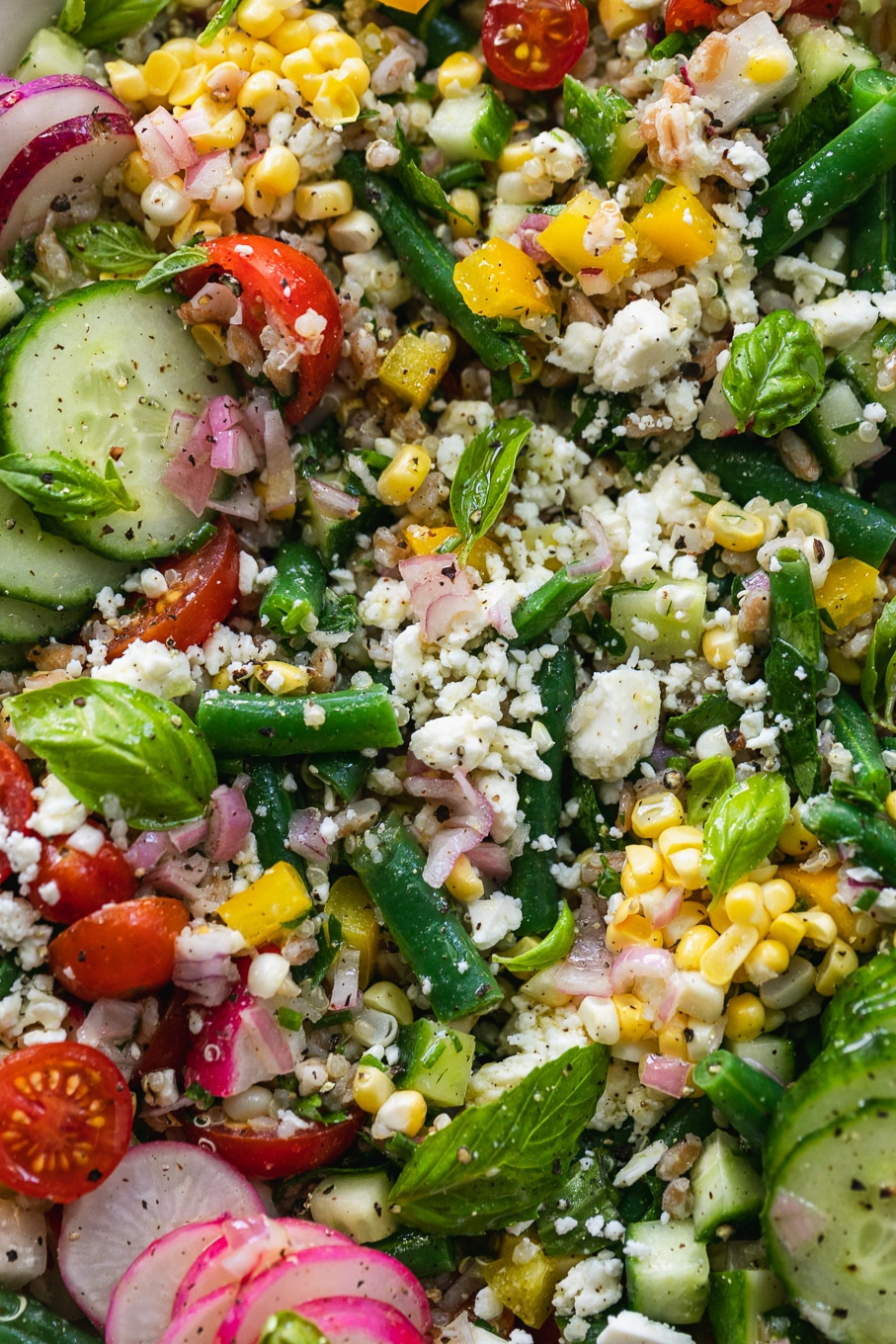 Very close up shot of a colorful grain salad