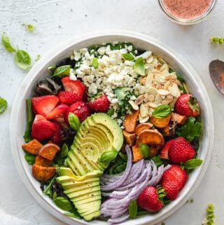 Summer Salad with Roasted Strawberry Poppyseed Vinaigrette