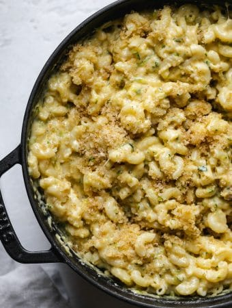 Overhead shot of a pot of mac and cheese with breadcrumbs