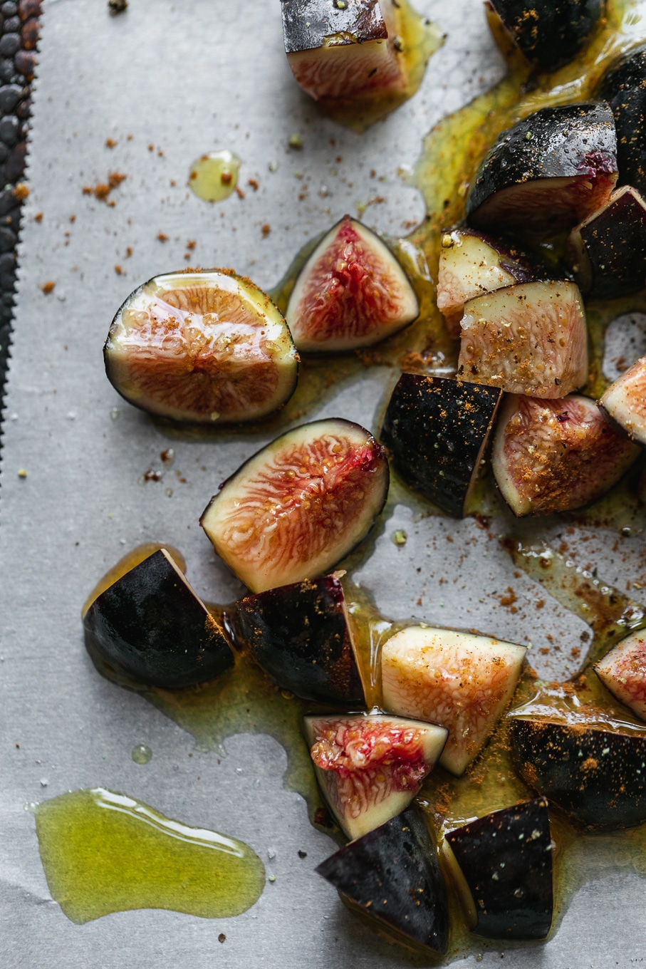 Overhead close up shot of figs about to be roasted